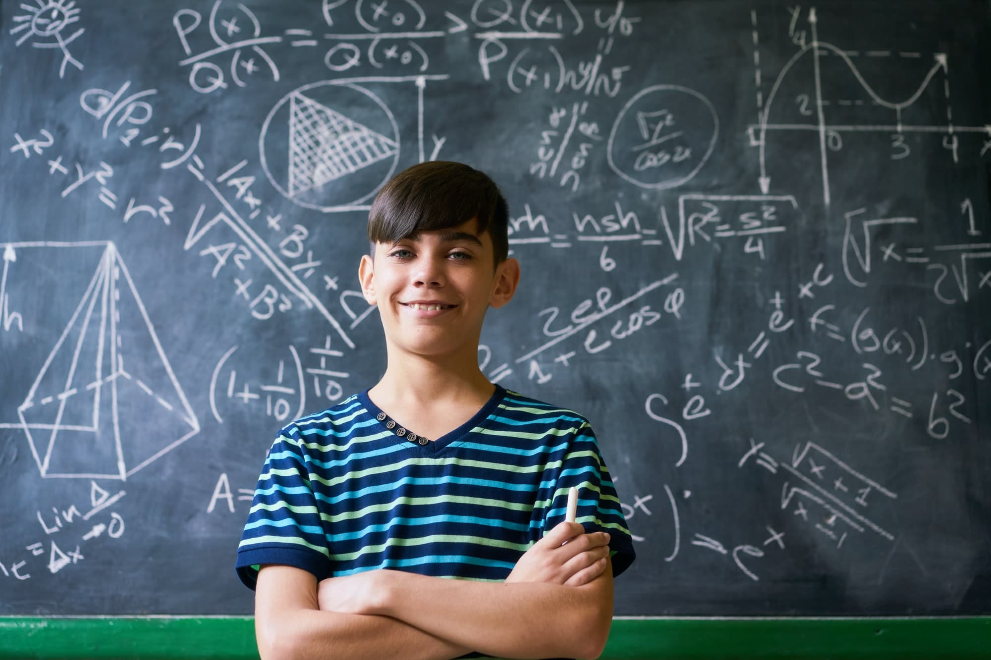 Boy Smiling At Camera During Math Lesson